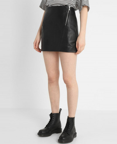 Leather-Look-Mini-Skirt-in-Texture-with-Multi-Zipper