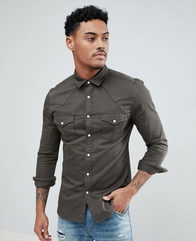 Long-Sleeve-Skinny-Denim-Western-Shirt-In-Khaki