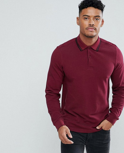 Long-Sleeve-Slim-Fit-Twin-Tipped-Polo-Shirt-In-Burgundy