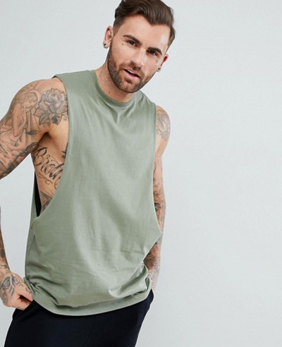 Longline-Vest-With-Extreme-Dropped-Armhole-In-Green-Tank-Top