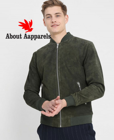 Men-Biker-Bomber-Green-Suede-Leather-Jacket