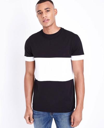 Men-Black-Block-Color-Front-T-Shirt