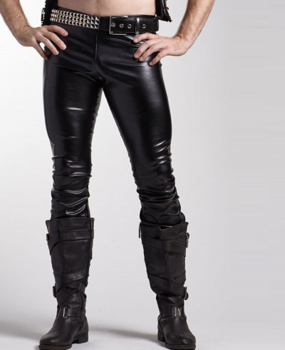 Men-Classic-Black-Leather-Pocket-Motorcycle-Pants