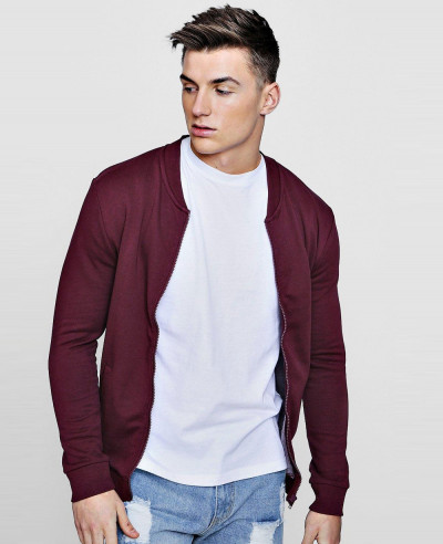 Men-Hot-Selling-Custom-Fashion-Burgundy-Jersey-Bomber-Sweatshirt-Jacket
