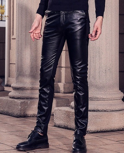 Men-Real-Cowhide-Leather-Bikers-Quilted-Panels-Pants