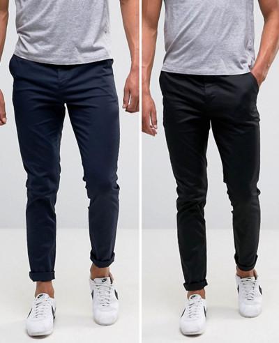 Men-Skinny-Chinos-In-Black-&-Navy-Trouser