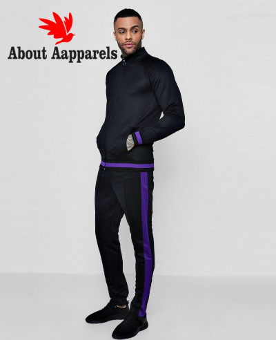 Men-Skinny-Fit-Funnel-Neck-Sports-Tracksuit