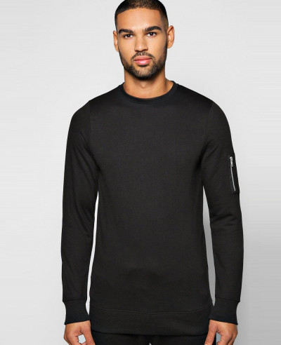 Men-Slim-Fit-Black-Crew-Neck-Sweatshirt