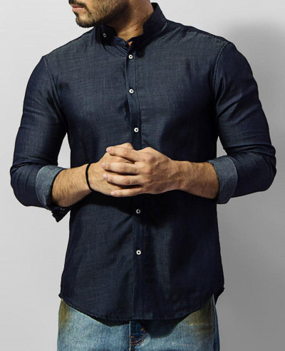 Men-Tencel-Denim-Shirt-With-Mao-Collar