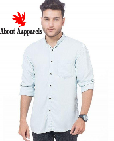 Men-Very-Light-Green-Super-Soft-Tencel-Denim-Shirt-with-Metal-Button