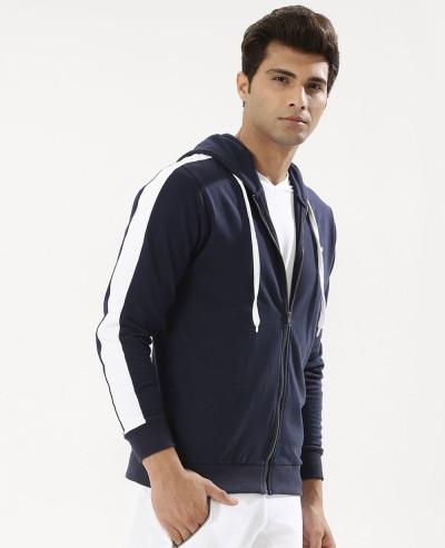 Men-Zipper-Contrast-Panel-Sleeve-Hoodie