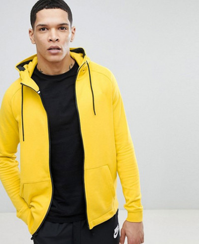Modern-Zipper-Through-Hoodie-In-Yellow