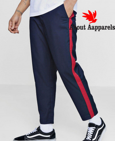 Navy-Blue-Stylish-Cropped-Tapped-Detail-Trouser