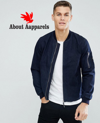 Navy-Blue-Stylish-With-Arm-Pocket-Denim-Bomber-Jacket
