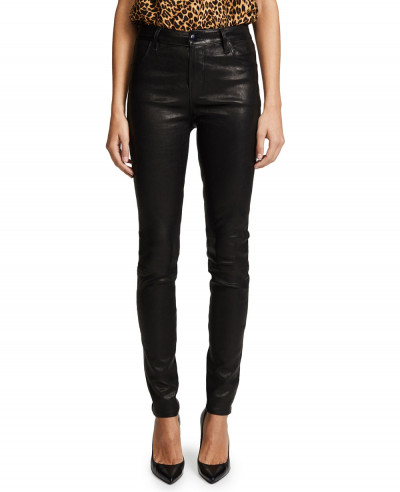 New-Black-High-Rise-Biker-Leather-Pant