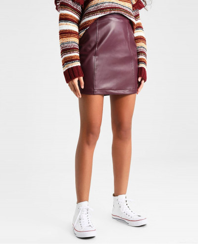 New-Brown-Leather-Mini-Skirt