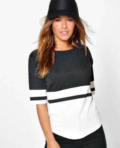 New-Fashion-Colour-Block-Oversized-Tee