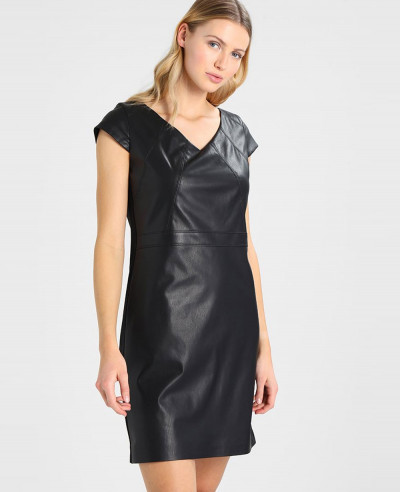 New-Lambskin-Black-Leather-Dress