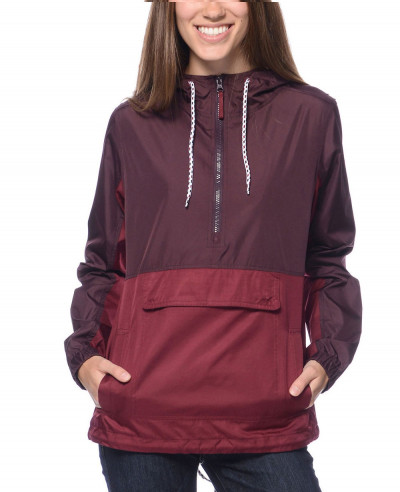 New-Look-Women-Burgundy-Mesh-Lined-Pullover-Jacket