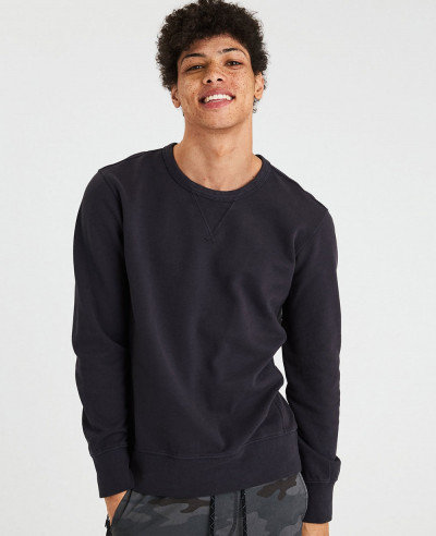 New-Men-Black-Crew-Neck-Sweatshirt
