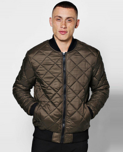 New-Stylish-Custom-Diamond-Quilted-Bomber-Padded-Jacket