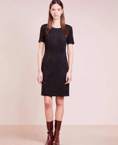 New-Stylish-Longline-Custom-Real-Suede-Leather-Dress