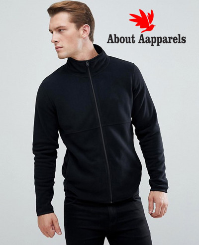 New-Stylish-Plain-Black-Fleece-Track-Jacket