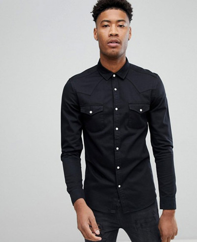New-Stylish-Skinny-Denim-Western-Shirt-In-Black