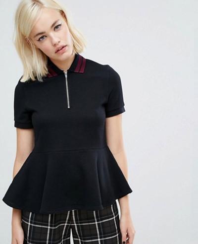 New-Women-Black-Custom-Peplum-Polo-Shirt