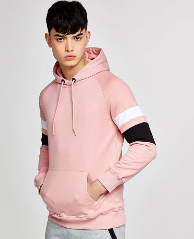 Pink-Colour-Block-Men-Stylish-Hoodie