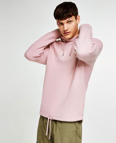Pink-Pullover-Stylish-Men-Fleece-Hoodie