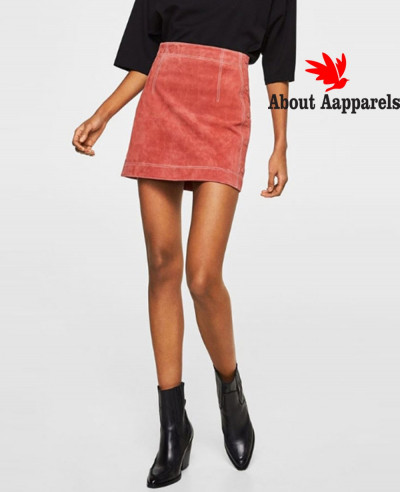 Pink-Real-Suede-Leather-Skirt