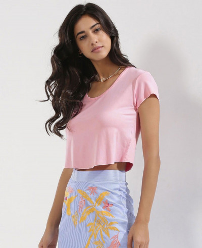 Pink-Scoop-Neck-Raw-Hem-Crop-Top-Tee