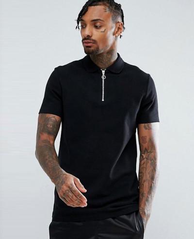 Pique-Polo-With-Zipper-Neck-In-Black