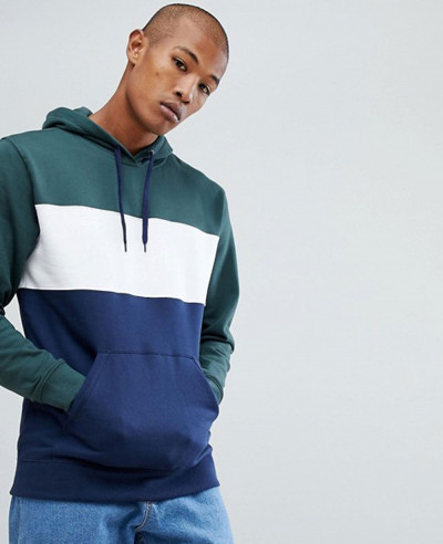 Pullover-Colour-Block-Hoodie-In-Navy