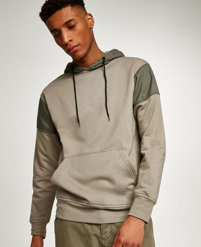 Pullover-Fashionable-Khaki-Tech-Panel-Hoodie