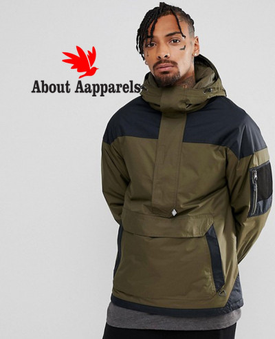 Pullover-Jacket-Hooded-Insulated-in-Green-Black-Windbreaker-Jacket