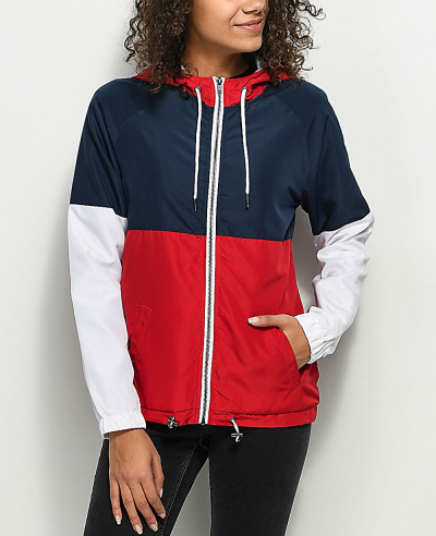 Red--White-&-Blue-Lined-Windbreaker-Jacket