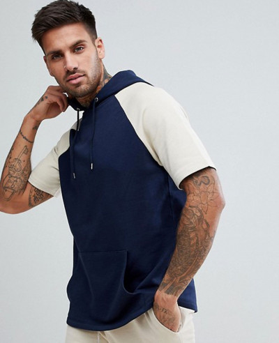 Short-Sleeve-Hoodie-In-Navy-And-Beige