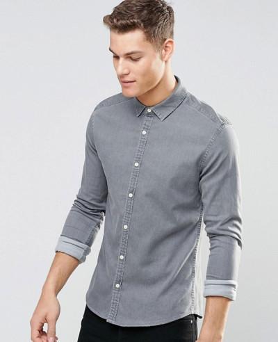 Skinny-Denim-Shirt-In-Light-Grey