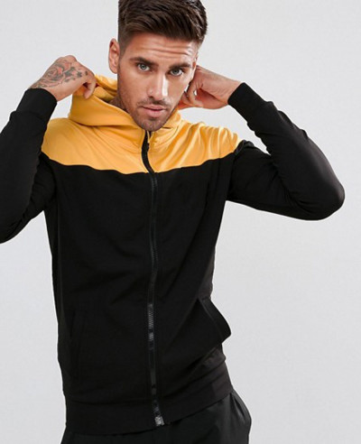 Track-Zip-Through-Hoodie-In-Black