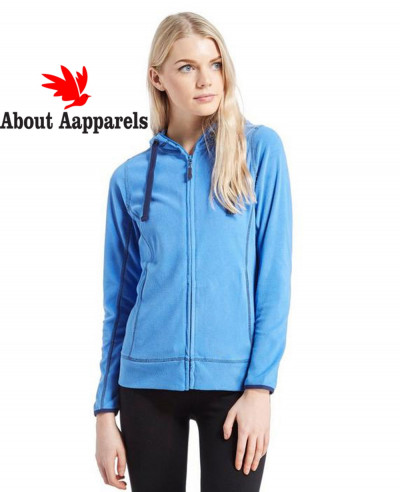 Women-Blue-Full-Zip-Microfleece-Hooded-Fleece-Jacket