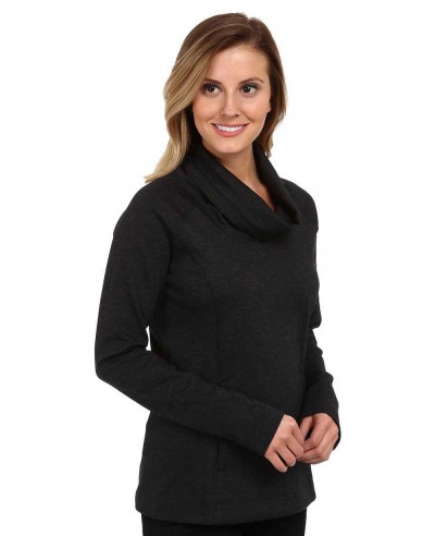 Women-Cowl-Neck-Pullover-Black-Sweatshirt