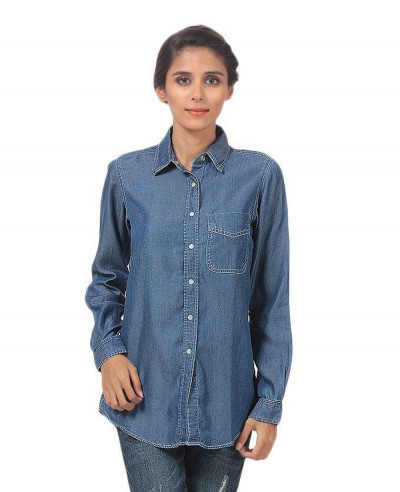 Women-Dark-Blue-Silky-Tencel-Denim-Button-Down-Shirt-With-White-Snap-Buttons
