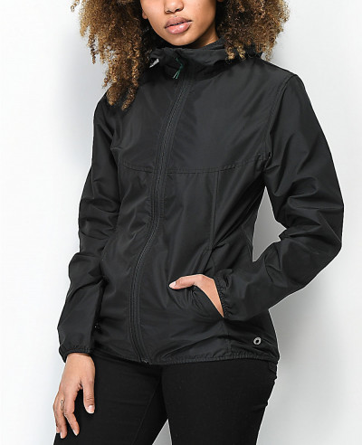 Women-Fashion-Black-Windbreaker-Jacket