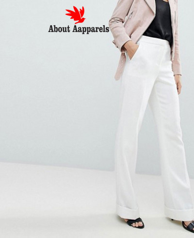 Women-Fashion-White-Leg-Trouser