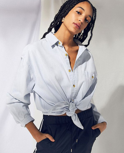 Women-Grey-Vintage-Denim-Oversized-Button-Down-Shirt