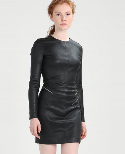 Women-High-Quality-Leather-Dress