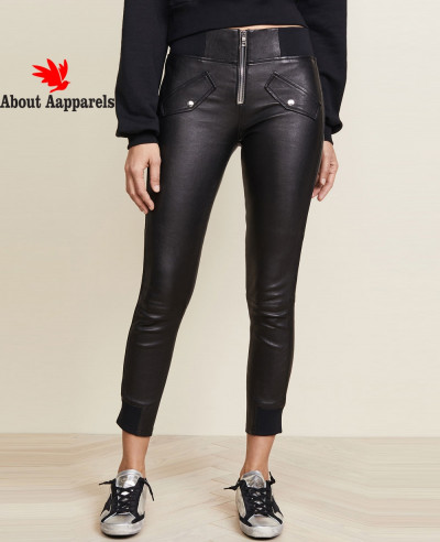 Women-Ladies-Punk-Zipper-Leather-Pencil-Lace-Up-Pants-High-Waist-Trousers