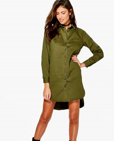 Women-Longline-Green-Denim-Utility-Dress